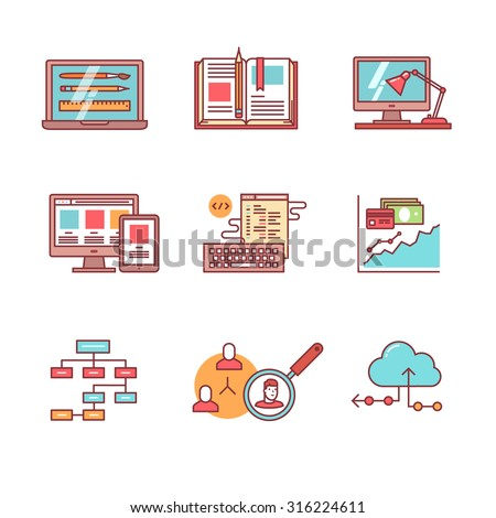 Web and app development, programming and project management icons thin line set. Design process, working desk, prototyping and mockups. Flat style color vector symbols isolated on white.
