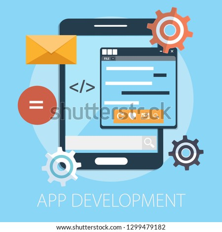web and app development programming, coding, programming languages, flat illustration concept