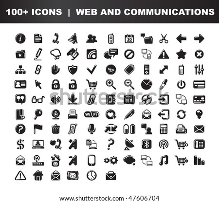 Web and communications icons set. 100 items. Black and white