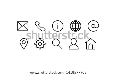 Web and Contact icons set. Vector illustration