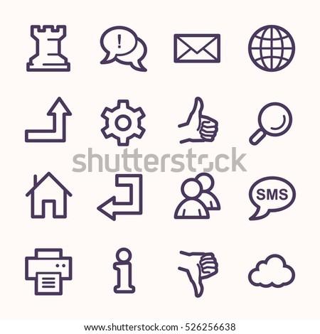 Web and internet, cloud and social media, folder and print, like and dislike web vector icons set