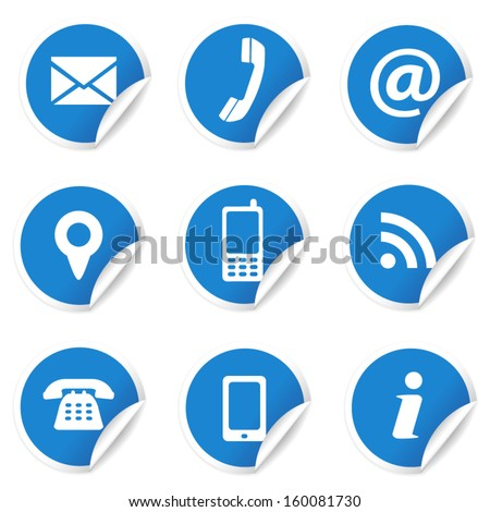 Web and Internet contact us icons set and design symbols on blue circular labels with curl. EPS10 vector illustration isolated on white background.