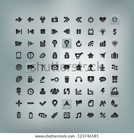 Web and Mobile Icon Set isolated on background