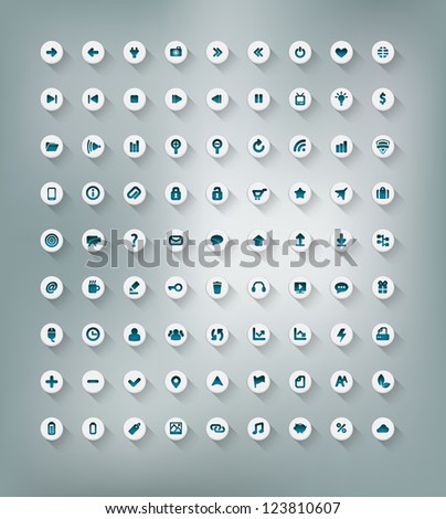 Web and office icon set isolated on background