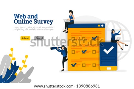 Web and Online survey for marketing, advertising and consultants vector illustration concept can be use for, landing page, template, ui ux, web, mobile app, poster, banner, website, flyer, ads