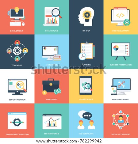 Web and Seo Flat Vector Icons
