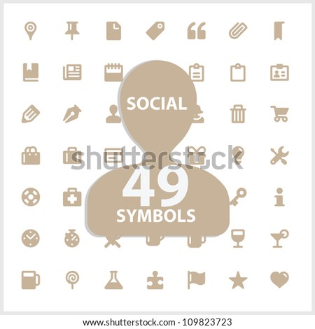Web and social vector symbols set isolated