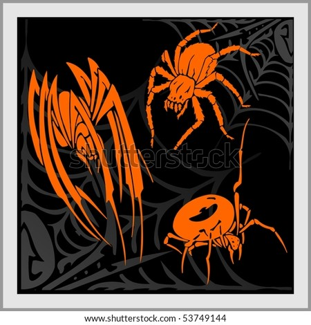 stock vector : Web and Spider - Tattoo Design. Ready for vinyl cutting.