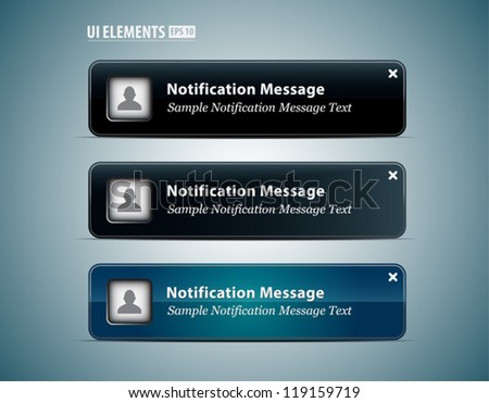 Web and UI Notification Message Window. Vector Web and UI elements