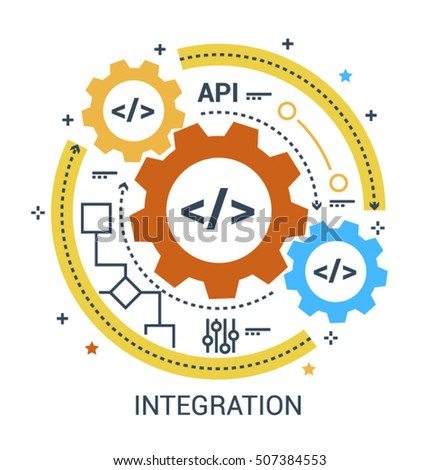 Web (API) Integration sign. Application programming interface flat icon set on white background.