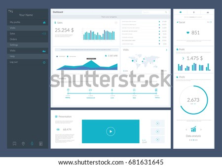 Web Application Data Infographic UI UX. Vector illustration
