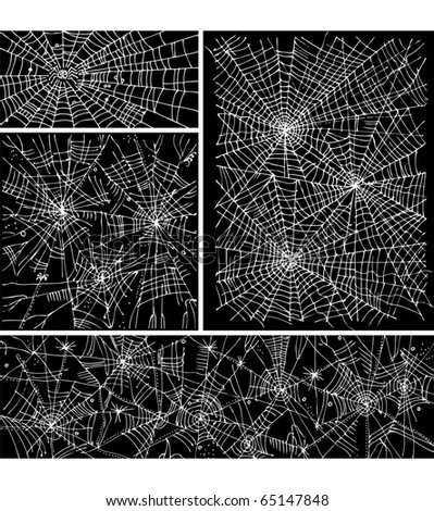 Web background pattern set 3. Eau-forte black-and-white decorative vector illustration.