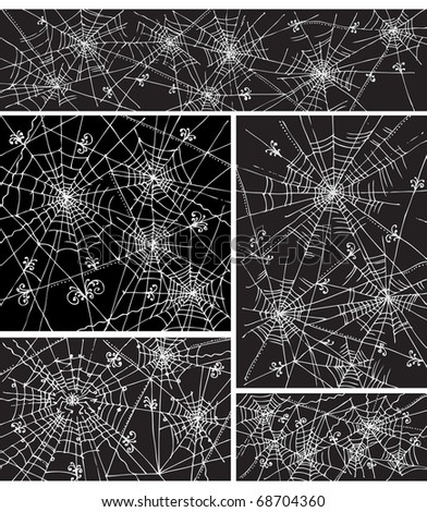 Web background pattern set 4. Eau-forte black-and-white decorative vector illustration.