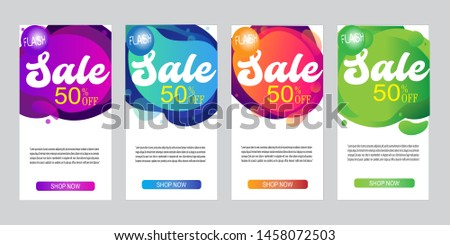 Web banner ad with dynamic modern fluid mobile for sale banners. Sale banner template design, Flash sale special offer set and can use for half-page ad,vertical ad,vertical rectangle ad and instagram