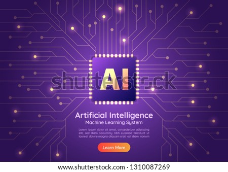 Web banner Artificial Intelligence AI chip on computer circuit board. AI and Machine learning concept landing page.