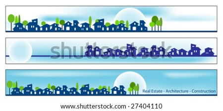 Web banner, business card - Real estate, architecture, construction company - Houses silhouettes and rainbow - Labels useful - stock vector