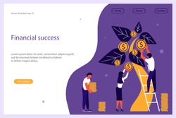 Web banner design template. Business people, man and woman plant a money tree or picking dollars from money tree. Business growth, financial success concept. Vector illustration eps 10