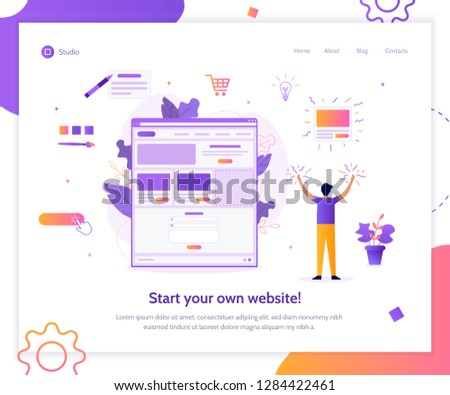 Web banner design template for landing page. A man creates his own website. Website builder concept. Flat vector illustration.