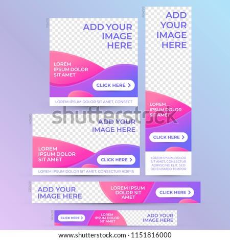 Web banner design template. Vector set. Modern vibrant color header image.