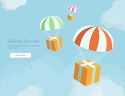 Web banner for Delivery Services and E-Commerce. Packages are flying on parachutes.Flat elements isolated vector illustration