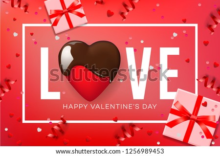 Web banner for Valentine's Day. Top view on composition with chocolate heart, gift box, confetti and streamers, vector illustration.