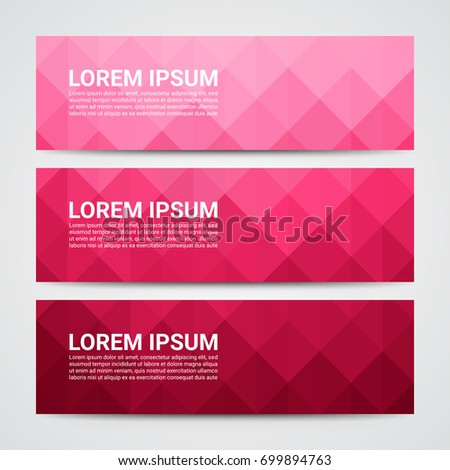 Web banner, Header layout template, Abstract pink geometric pattern background.