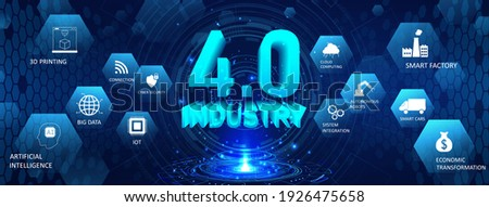Web banner Industrial Revolution 4.0. Scifi hologram and 3D numbers with conceptual icons. Industry 4.0 concept (Cloud computin, IOT, artificial intelligence robotics, physical systems) Vector banner