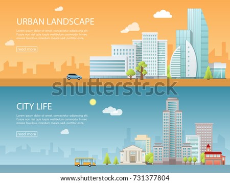 Web banner modern vector illustration of urban landscape with buildings, shop and stores, transport. Flat city.