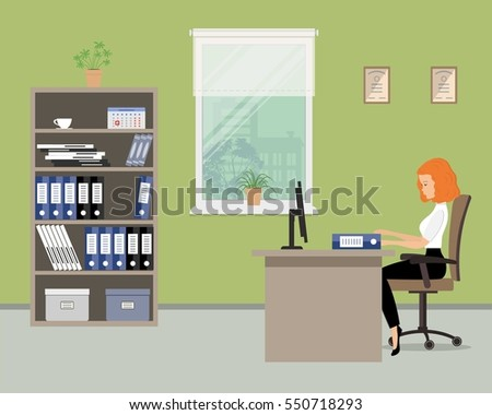 Flat Office Illustration Download Free Vector Art Stock