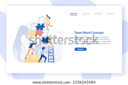 Web banner template with group of tiny office workers or colleagues assembling together giant jigsaw puzzle pieces. Teamwork, business cooperation. Modern flat vector illustration for website.