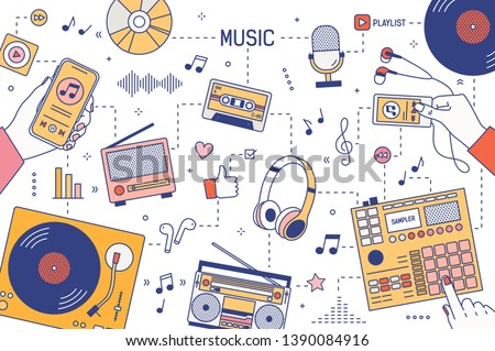 Web banner template with hands and devices for music playing and listening - player, boombox, radio, microphone, earphones, turntable, smartphone, vinyl records. Vector illustration in linear style.