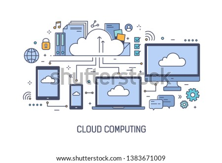 Web banner template with networked electronic devices. Cloud computing technology, information or files storage, data processing service. Colorful vector illustration in modern line art style.