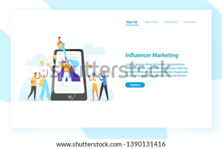 Web banner template with smartphone, woman with bullhorn on screen and customers surrounding her. Influencer marketing, social media promotion. Flat vector illustration for internet advertisement.