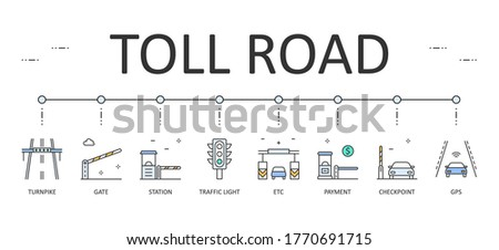 Web banner toll road. Editable Stroke. Vector colored icons. Station gate traffic light. Electronic toll collection, gps payment communication system checkpoint Сток-фото ©