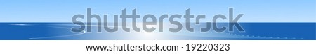 Web banner with blue sea and sky