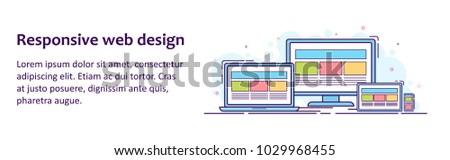 Web banner with illustration of devices with different view one web page