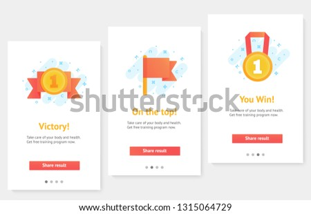Web banners. Home page concept. UI design mockup. Flat vector icons of gold winner trophy. Awards for winners, champions, leadership. Symbol for logo, label, game, app design.