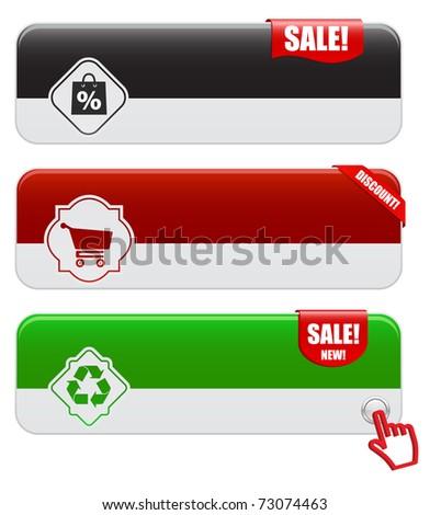 web banners sale - set - stock vector