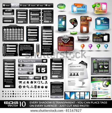 Web Black Stuff EXTREME Collection: 3 Full websites,hundreds of icons,headers,footers,login forms, paper tag with transparent shadow,stickers,business cards and so on