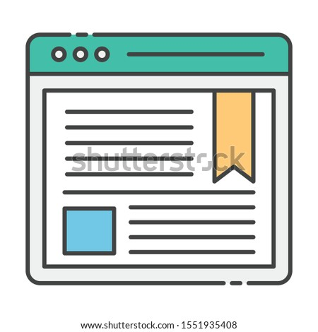 Web Blogging, web article  icon vector in flat design