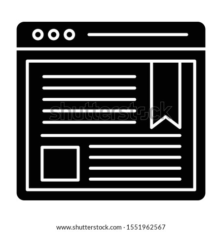 Web Blogging, web article  icon vector in glyph design