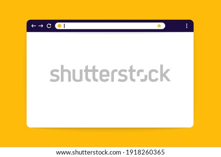 Web browser page mockup. Blank internet browser window with favourites sign in flat design. Vector illustration
