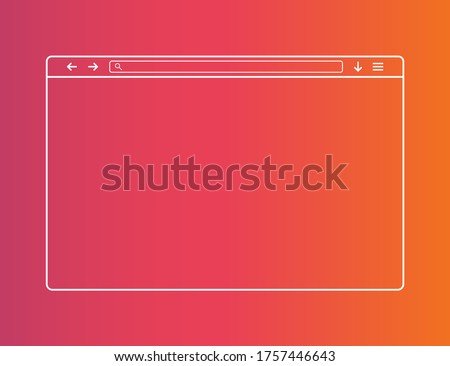 Web browser window. Template of website interface. Social media style of outline browser. Mockup of web window in simple linear design. Search bar with loupe and arrows. Vector EPS 10.