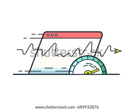 Web browser with speedometer testing Speed of internet connection. Website speed loading time vector icon.