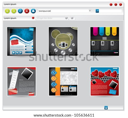 Web browser with startup items or bookmarks tiled