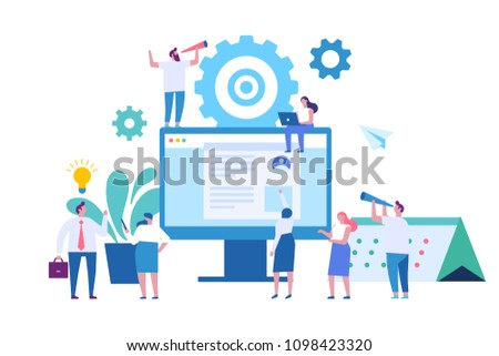 Web business technology concept. Vector flat  illustration.