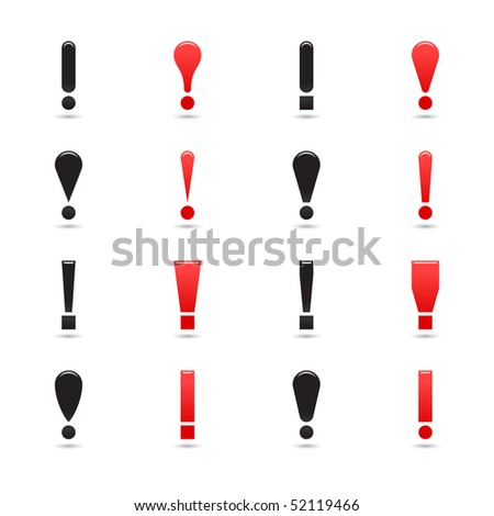 Web button set black and red matted exclamation mark on white