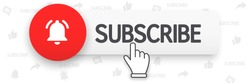 Web button subscribe layout. Blogging, promotion. Social media concept. Vector illustration. EPS 10