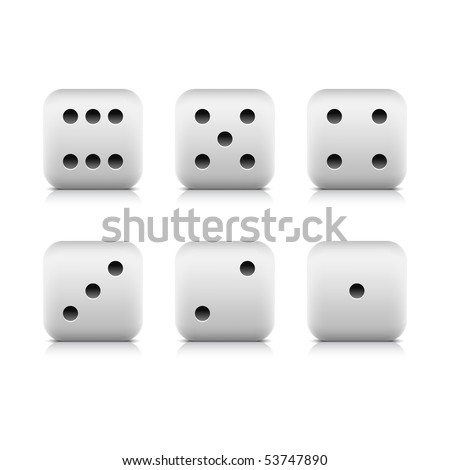 Web button white casino dice icon with shadow and reflection on white background