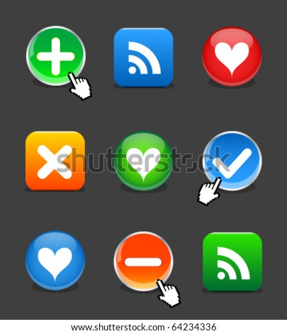 Web 2.0 buttons - stock vector